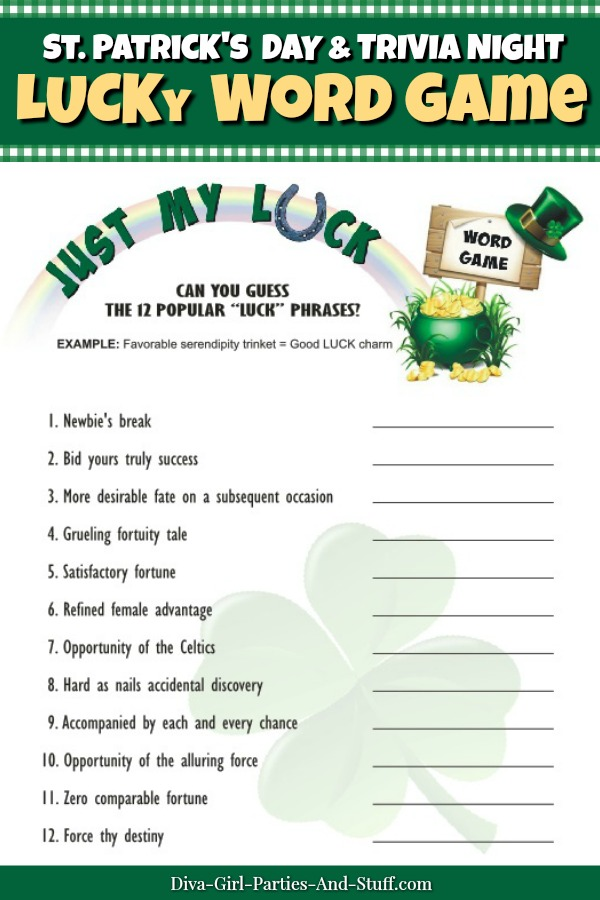 Printable Just My Luck Word Game for St. Patrick's Day and Trivia Nights