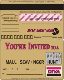 Mall Scavenger Hunt Invitation in Credit Card Style