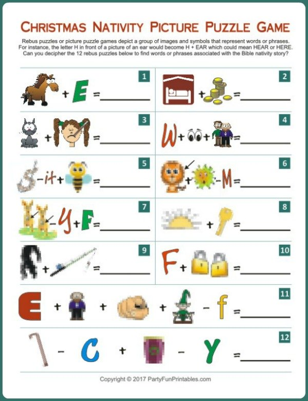 Printable Nativity Picture Puzzle Game