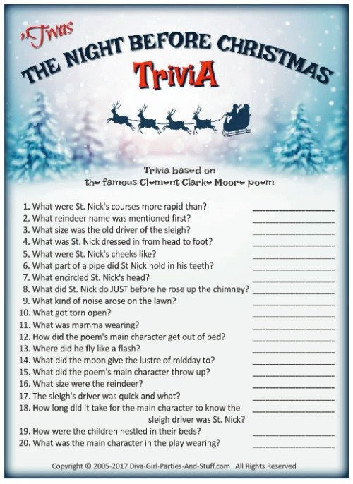 Nightmare Before Christmas Trivia Game
