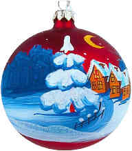 Christmas snow scene ornament