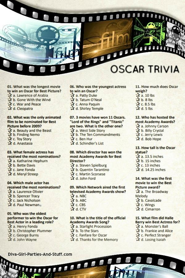 Printable Oscar Trivia Game