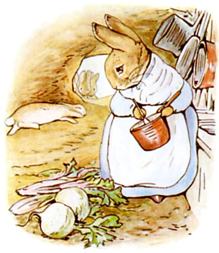 Peter Rabbit's Mother Cooking Dinner