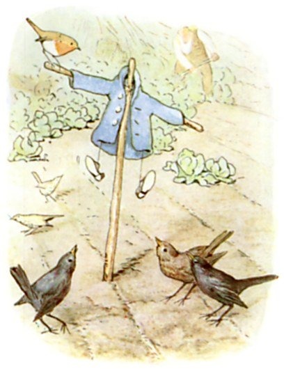 Mr McGregor Uses Peter Rabbit's Jacket and Shoes as a Scarecrow