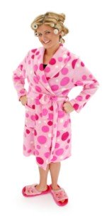 girl in curlers and a funky pink robe