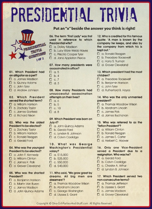 Presidential Trivia for President's Day, Independence Day, Patriotic Holiday Parties