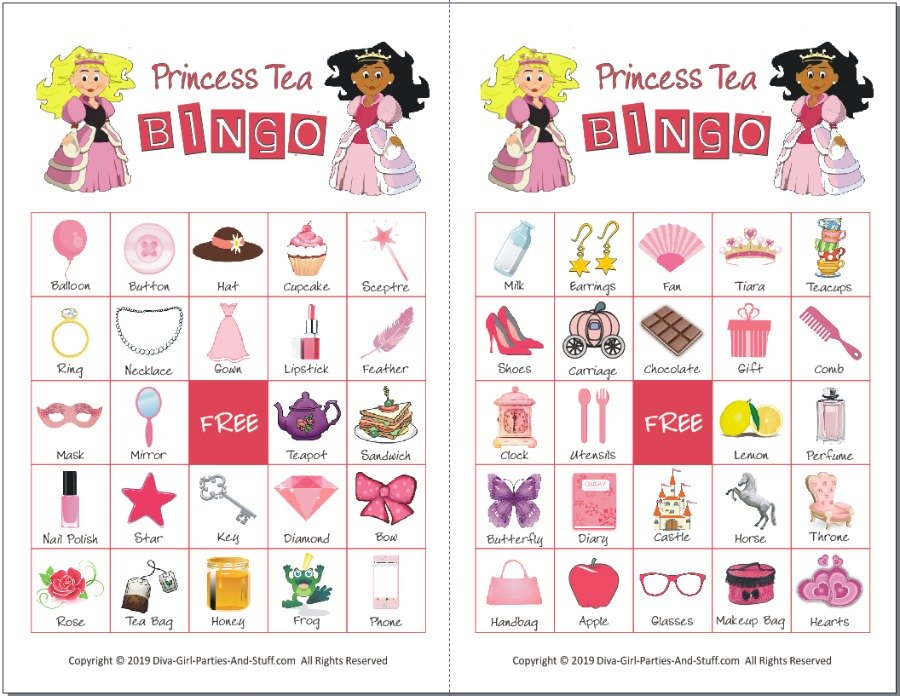 Princess Tea Party Bingo Cards
