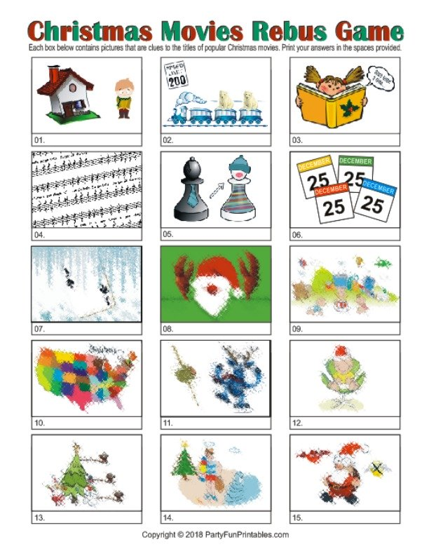 Printable Christmas Rebus Game / Christmas Movies Picture Puzzles