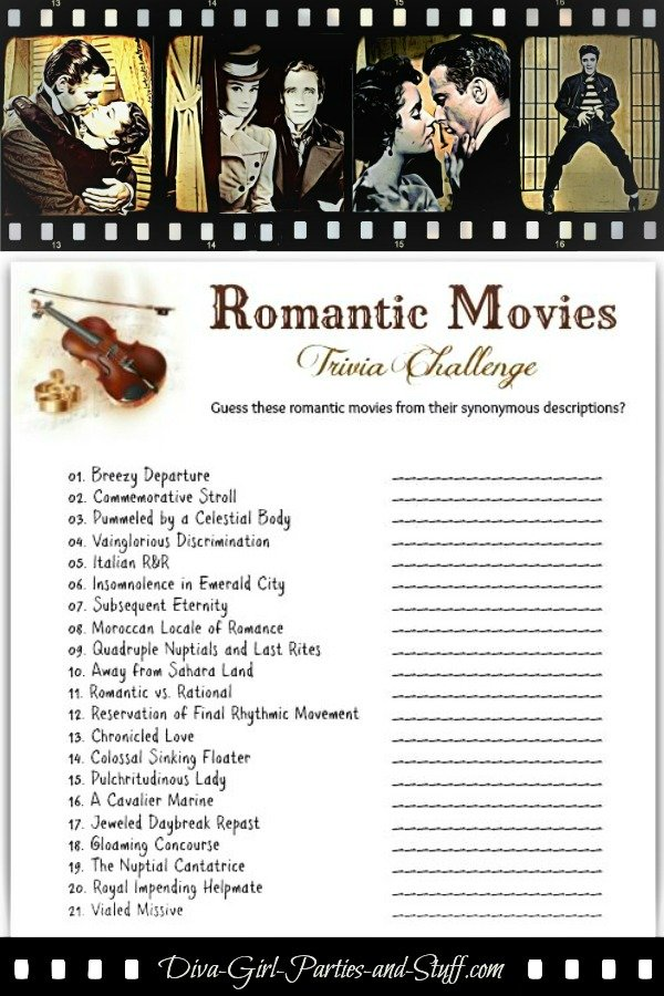 Romantic Movies Trivia Game