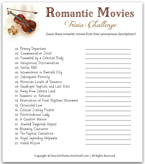 Valentine movie trivia