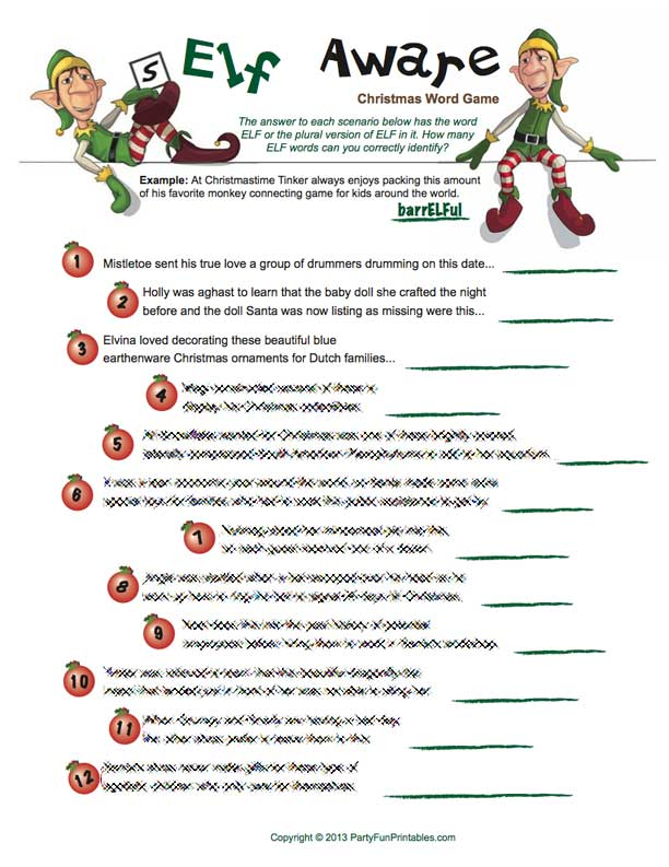 Printable Elf Christmas Game