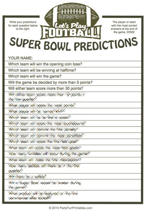Super Bowl Predictions Game