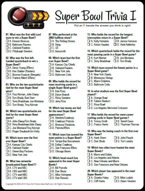 printable super bowl trivia game - Halloween Trivia With Answers