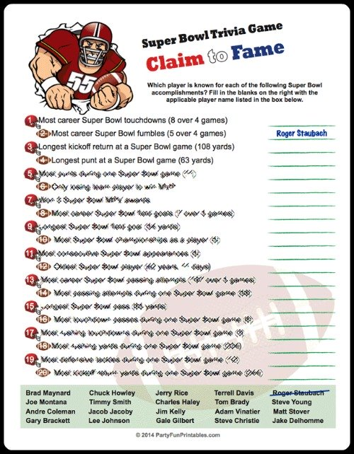 Claim to Fame Super Bowl Trivia