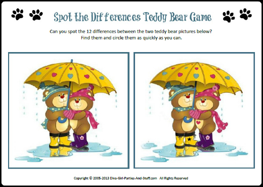 printable teddy bear game