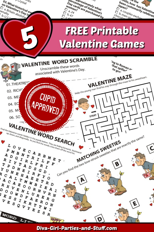 Valentine Trivia and Pencil Puzzle Games