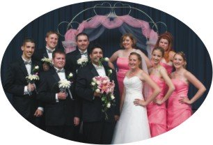 humorous bridal party pose